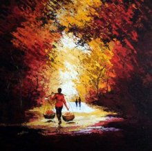Nature Acrylic Art Painting title 'Flower Seller' by artist Ganesh Panda