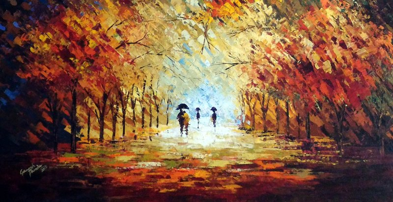 Romantic walk in the rain ii by artist ganesh panda for How paint on canvas