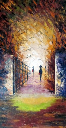Nature Oil Art Painting title 'Rain On The Bridge' by artist Ganesh Panda