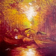 Landscape Acrylic Art Painting title 'Reflection' by artist Ganesh Panda