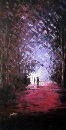 Nature Oil Art Painting title 'The Purple Monsoon' by artist Ganesh Panda