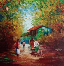 Landscape Acrylic Art Painting title 'Village 1' by artist Ganesh Panda