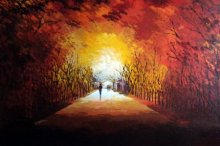 Nature Acrylic Art Painting title 'Walking Towards Sunshine' by artist Ganesh Panda