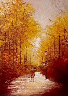 Landscape Acrylic Art Painting title 'Walking Towards Sunshine' by artist Ganesh Panda