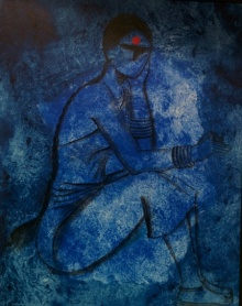 Waiting | Painting by artist Janaki Injety | acrylic | Canvas
