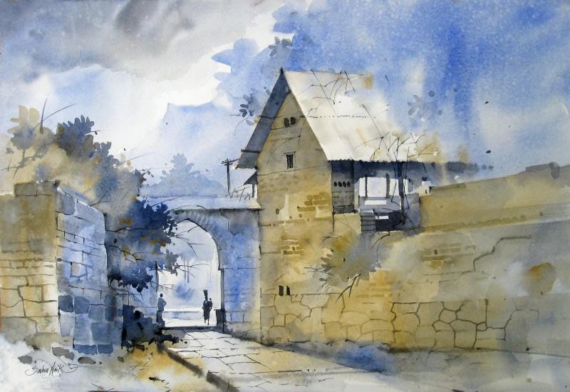 watercolour landscapes by artist sachin naik landscape art