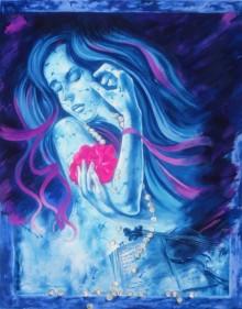 Figurative Mixed-media Art Painting title 'Feelings Of Sorrow' by artist Shambhu Nath Goswami