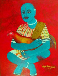 Figurative Acrylic Art Painting title 'Cock Fighter' by artist V.v. Swamy