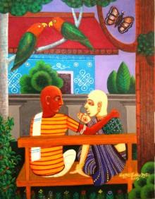Figurative Acrylic Art Painting title 'Family Gossip' by artist V.v. Swamy