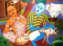 Figurative Acrylic Art Painting title 'Pleasant Mood' by artist V.v. Swamy