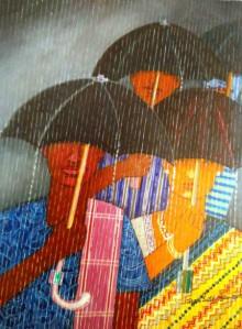 Figurative Acrylic Art Painting title 'Rainey Season' by artist V.v. Swamy