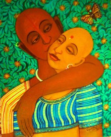 Figurative Acrylic Art Painting title 'Sweet Kiss' by artist V.v. Swamy