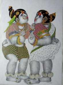 Bhawandla Narahari | Acrylic Painting title Village Women with Parrot 3 on Paper