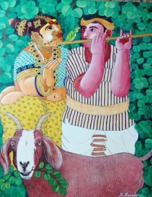 Bhawandla Narahari | Acrylic Painting title Couple and Goat 2 on Canvas | Artist Bhawandla Narahari Gallery | ArtZolo.com