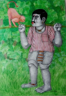 Bhawandla Narahari | Acrylic Painting title Man and Monkey on Paper | Artist Bhawandla Narahari Gallery | ArtZolo.com