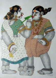 Bhawandla Narahari | Acrylic Painting title Village Women with Parrot 1 on Paper