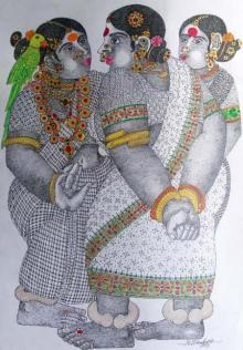 Bhawandla Narahari | Acrylic Painting title 3Women With Parrot - 2 on Paper