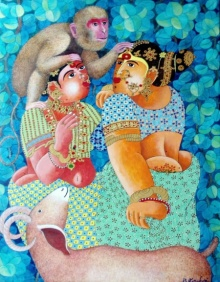 Bhawandla Narahari | Acrylic Painting title Couple monkey and Goat 2 on Canvas | Artist Bhawandla Narahari Gallery | ArtZolo.com