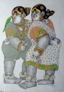 Bhawandla Narahari | Acrylic Painting title Village Women with Parrot 2 on Paper