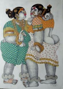 Gossiping Women 1 | Painting by artist Bhawandla Narahari | acrylic | Paper