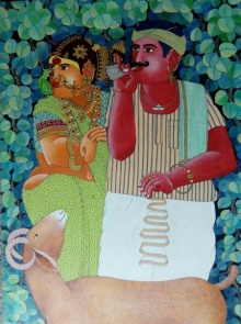Bhawandla Narahari | Acrylic Painting title Couple and Sheep on Canvas | Artist Bhawandla Narahari Gallery | ArtZolo.com
