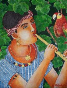 Bhawandla Narahari | Acrylic Painting title Boy With Parrot on Canvas | Artist Bhawandla Narahari Gallery | ArtZolo.com