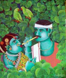 Bhawandla Narahari | Acrylic Painting title Couple With Parrot 1 on Canvas | Artist Bhawandla Narahari Gallery | ArtZolo.com