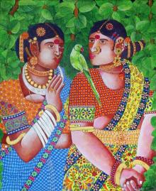Bhawandla Narahari | Acrylic Painting title Ladies With Parrot 1 on Canvas | Artist Bhawandla Narahari Gallery | ArtZolo.com