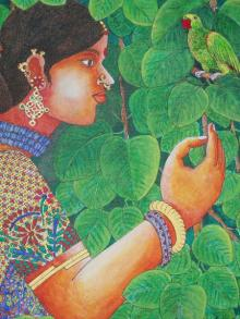 Bhawandla Narahari | Acrylic Painting title Lady With Parrot 3 on Canvas | Artist Bhawandla Narahari Gallery | ArtZolo.com