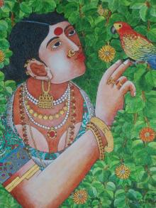 Bhawandla Narahari | Acrylic Painting title Lady With Parrot 4 on Canvas | Artist Bhawandla Narahari Gallery | ArtZolo.com