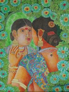 Bhawandla Narahari | Acrylic Painting title Reflection on Canvas | Artist Bhawandla Narahari Gallery | ArtZolo.com