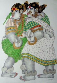 Pen-ink Paintings | Drawing title Women with parrot 5 on Paper | Artist Bhawandla Narahari
