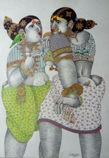 Pen-ink Paintings | Drawing title Women with parrot 3 on Paper | Artist Bhawandla Narahari