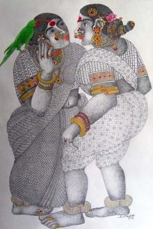Bhawandla Narahari | Acrylic Painting title Women With Parrot - 3 on Paper