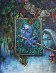 Religious Mixed-media Art Painting title 'Krishna Playing Flute With Radha' by artist Rakhi Baid