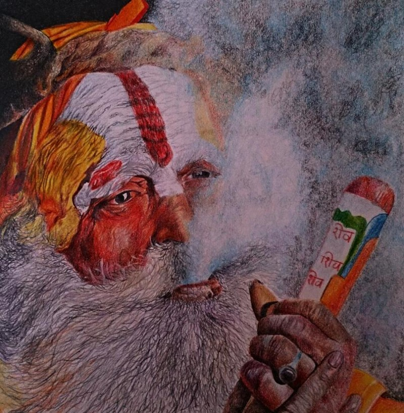 Smoke Sadhu painting by artist Deepak Deshmukh | Buy Art ...