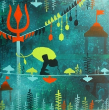 Figurative Acrylic Art Painting title 'Golden memories' by artist Lakhan Singh Jat
