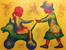 Lakhan Singh Jat | Acrylic Painting title Athkheliya 1 on Canvas | Artist Lakhan Singh Jat Gallery | ArtZolo.com