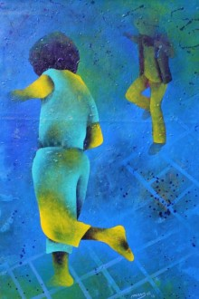 Figurative Acrylic Art Painting title 'Athkheliya 3' by artist Lakhan Singh Jat
