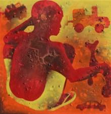 Figurative Acrylic Art Painting title 'Athkheliya 4' by artist Lakhan Singh Jat