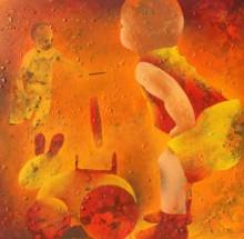 Figurative Acrylic Art Painting title 'Athkheliya 5' by artist Lakhan Singh Jat