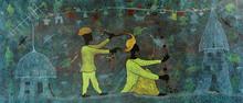 Figurative Acrylic Art Painting title Virtual World 11 by artist Lakhan Singh Jat