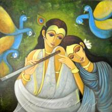Figurative Oil Art Painting title Radha Krishna I by artist Pallavi Walunj