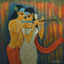 Figurative Oil Art Painting title Radha Krishna II by artist Pallavi Walunj