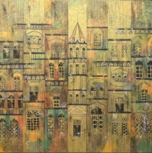 Cityscape Acrylic Art Painting title 'Yellow City 2' by artist Suresh Gulage