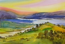 Landscape Watercolor Art Painting title 'Krishna Valley 54' by artist Sunil Kale