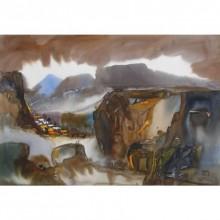 Sunil Kale | Watercolor Painting title Mindscape 19 on Paper | Artist Sunil Kale Gallery | ArtZolo.com