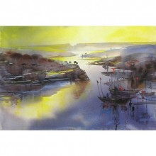 Riverscape 42 | Painting by artist Sunil Kale | watercolor | Paper
