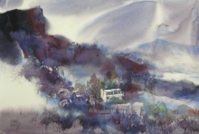 Landscape Watercolor Art Painting title 'Table Land Mindscape 71' by artist Sunil Kale
