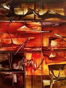 Abstract Mixed-media Art Painting title 'Nature 9' by artist Ramesh Kher